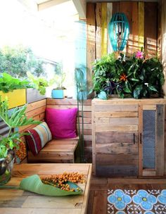 """<p>Plywood doesn't always have to accompany white walls and stainless steel appliances. This versatile material can help create a warm and colorful atmosphere. Here, some intrepid DIYers repurposed a plywood shipping pallet to redo their patio. See the full tutorial <a href=""""http://www.apieceofrainbow.com/diy-pallet-wood-bench-and-gabion-table/"""">here</a>. <i>(Photo: <a href=""""http://www.apieceofrainbow.com/diy-pallet-wood-bench-and-gabion-table/"""">A Piece of Rainbow</a>)</i></p>"""