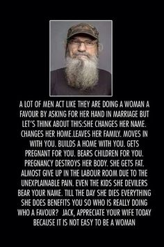 And if the guy doesn't acknowledge that, take a minute to re-evaluate, ladies.
