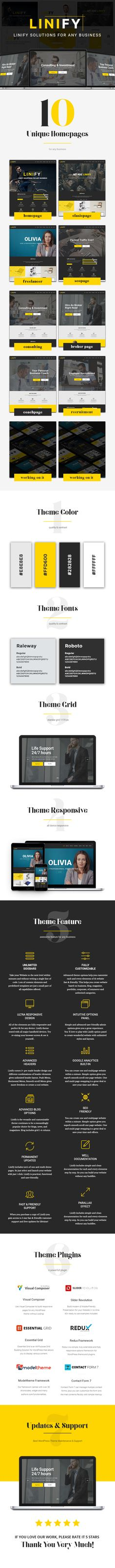 Linify - One Man Business WordPress Theme by modeltheme Portfolio Lighting, Job Page, Wordpress Premium, Amazing Websites, Website Themes, Christmas Illustration, Make More Money, Web Development