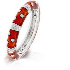 Red Enamel Silver Ring Epoxy Baked Thin Stackable Plus Size 9 10 USA Seller #Band