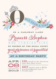 Princess Birthday Party Invitations. $20.00, via Etsy.