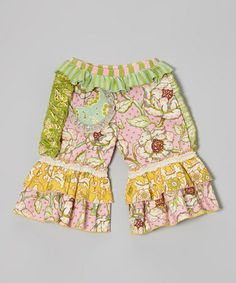 Take a look at this Pink & Green Floral Ruffle Pants - Infant, Toddler & Girls by Mustard Pie on #zulily today!