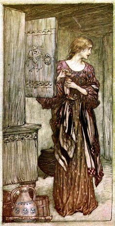 Sieglinde Prepares Hundling's Draught for the Night by Arthur Rackham from The Rhinegold & The Valkyrie by Richard Wagner, 1910