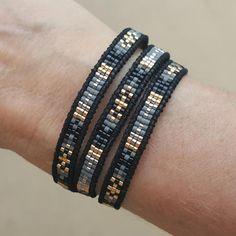 Black and Grey Mix of Miyuki Glass Seed Beads on Black Leather Wrap Bracelet Bead Loom Bracelets, Beaded Wrap Bracelets, Jewelry Bracelets, Bracelet Wrap, Seed Bead Jewelry, Beaded Jewelry, Seed Beads, Jewellery, Jewelry Patterns