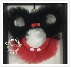 """Mickey or Minnie Mouse Tulle Wreath in Red and Black - 25"""" wreath #MickeyMouse #MinnieMouse Letter not included. We will add one, by request $5.00 Minnie Mouse wreath can be made in Pink and Black a"""