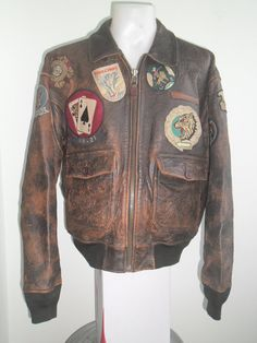 90's Vintage AMECO Type G-1 Top Gun Flight Leather Jacket