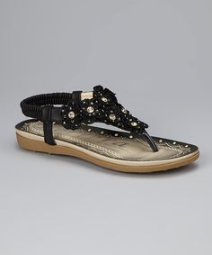 Take a look at the Black Floral Sandal on #zulily today!