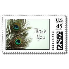 cute peacock feather thank you stamps for wedding or a shower - great touch