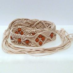 Macrame Belt With Beads Vintage Natural Cord by plattermatter