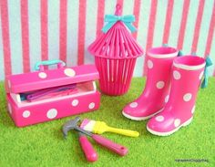 Re-ment / Rement : Japanese Dollhouse Toys : Flirty Pink #8 - Miniature Pink Garden Boots & DIY Tool Box / Hammer / Screwdrive
