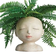 Head of a Lady Indoor/Outdoor Resin Planter (Of A Lady Indoor/Outdoor Resin Planter), Grey (Plastic) #6516233