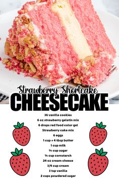 Strawberry Crunch Cake, Strawberry Shortcake Cheesecake, Strawberry Cream Cakes, Strawberry Cheesecake Cake Recipe, Cheesecake Recipes, Cake Filling Recipes, Dessert Recipes, Crumble Recipe, Cake Fillings
