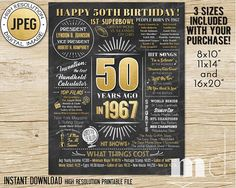 50th Birthday Gift Chalkboard Poster 50 Years Old Born in