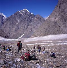 Porters on the glacier, Hindu Kush, Pakistan Hindu Kush, Pakistan, Mount Everest, My Photos, Mountains, Explore, Nature, Travel, Viajes