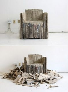 """""""...homemade laminate that can be used like wood. Here, the designer glued together 127 pieces of cardboard (recycled boxes, not pristine sheets) until he had a big roughly-arm-chair-size block. Then he sculpted it with a grinder and saw, gradually tailor"""