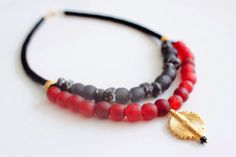 Red African necklace, Ivorian gold pendant, African gold, Ghana recycle glass,  on Etsy, $96.00