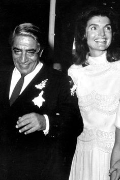 Aristotle Onassis and Jackie Kennedy on their wedding day (October 20, 1968) ~ Skorpios island, Greece