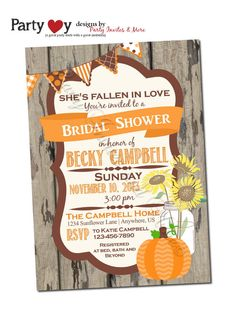 This is a bridal shower invite, but it has everything you like!!  Fall Bridal Shower Invitation Fall Wedding by PartyInvitesAndMore, $10.00