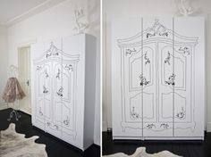 Great way to turn your modern wardrobe into a chic armoire