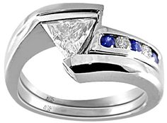 .76 Carat Zee2 Diamond & Sapphire 14Kt White Gold Engagement Ring - Fashion