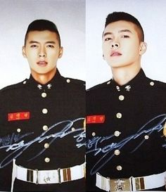 Photos of actor Hyun Bin in his military marine corps uniform were recently revealed to the public, melting the hearts of his female fans. Hot Korean Guys, Korean Men, Asian Men, Hot Guys, Hyun Bin, Korean Celebrities, Korean Actors, Crew Cut Hair, Marine Corps Uniforms