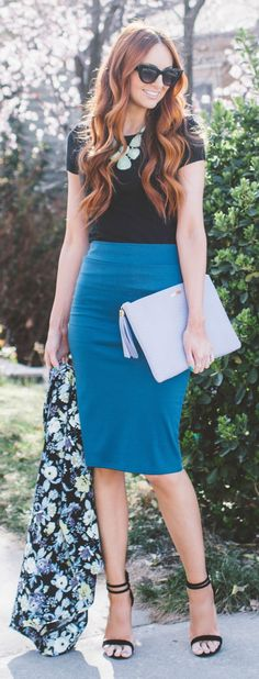 Girly Pencil Skirt Streetstyle by LITTLE J STYLE