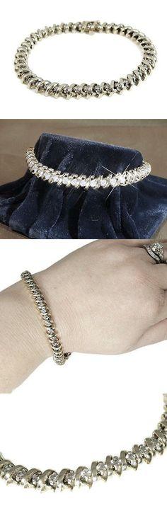 Diamond 10976: 4.50Cts Estate Heavy 14Kt White Gold Beautiful Diamond Tennis Bracelet -> BUY IT NOW ONLY: $500 on eBay!