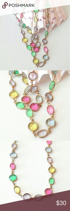 Vintage Pastel Crystal Necklace Bezel Set  Easter Vintage 80's pastel crystal necklace. Easter colors. Faceted bezel set round and oval crystals in pink, yellow, blue, purple and green. Link chain.  Very good condition. Jewelry Necklaces