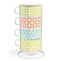 4 mugs en porcelaine   support multicolores MATILDA