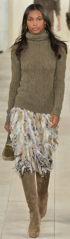 Think I might like fashion in the fall long boots skirts and jumpers  Ralph Lauren RTW Fall 2015