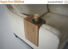 ON SALE Recycled Timber Armrest Table. by LoveHardwood on Etsy