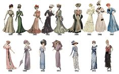 Historical Fashion — lolita-wardrobe: A Timeline of Women's Fashion. Ol Fashion, Quirky Fashion, Fashion History, Vintage Fashion, Womens Fashion, Fashion Design, Fashion Dresses, Vintage Dresses, Vintage Outfits
