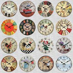 12inch Vintage Wooden Round Wall Mounted Clock Art Craft Home Kitchen Amazing