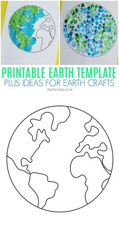 Printable Earth Template plus Earth Day Craft Ideas - Free printable Earth PDF plus some ideas on how to use this template to make easy Earth Day crafts for kids Earth Day Projects, Projects For Kids, Art Projects, Crafts For Kids, Arts And Crafts, Preschool Crafts, Earth Craft, Earth Day Crafts, Earth Day Activities