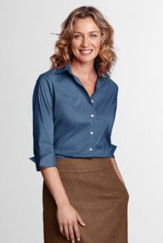 Women's 3/4-sleeve Stretch Broadcloth Blouse from Lands' End $40