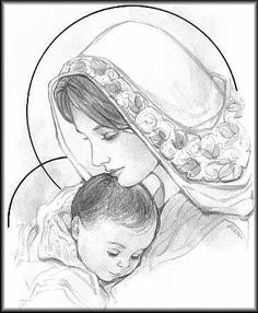 mary and baby jesus sketch Catholic Art, Religious Art, Jesus Sketch, Art Des Gens, Jesus Drawings, Mama Mary, Blessed Mother Mary, Jesus Art, Mary And Jesus