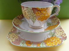 Rare Art Deco Bell Bone China Floral Tea set Trio - Cup, Saucer & Tea plate | eBay