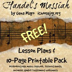 Music lessons for kids - FREE Handel's Messiah Lesson Plan and Printable Pack – Music lessons for kids Music Lessons For Kids, Music Lesson Plans, Music For Kids, Piano Lessons, History Lesson Plans, Preschool Lessons, Music Classroom, Classroom Ideas, Music Teachers