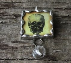 Skull Halloween 1 Inch Glass Soldered by MablesGranddaughter, $15.00
