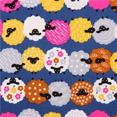 dark blue Japanese animal fabric with cute colorful sheep Sheep Template, Cumpleaños Diy, Japanese Animals, Eid Crafts, Printable Scrapbook Paper, Sheep Art, Fabric Bowls, Animal Quilts, Retro Fabric