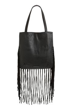 Obsessed with this black leather fringe hobo!
