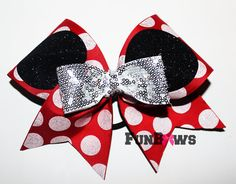 Awesome new Glitter and Polka Dots Mickey cheer bow by Funbows !!