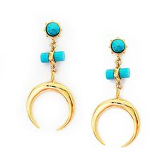 Crescent Drop Earrings - Turquoise