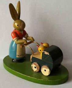 VINTAGE ERZGEBIRGE GERMANY BUNNY WITH BABY CHICKS in BUGGY