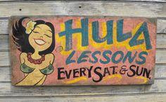 Hawaiian  Hula Girl  Sign original Z D S  H 3 by ZekesAntiqueSigns