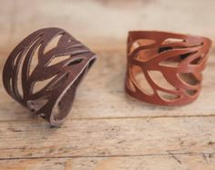 LACED leather BRACELET // Leaf Leather Bracelet