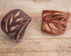 BRACELET en cuir TREMPÉE// Bracelet en cuir feuille