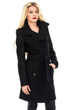 Manteau cachemire, manteau noir, manteau mode, manteau femme - Stefanie Renoma