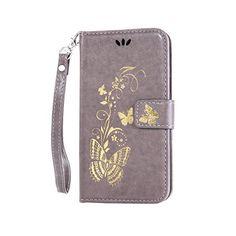 Coque pour Nokia Lumia 650 N650 ,Housse en cuir pour Nokia Lumia 650 N650,Cozy Hut Bronzante Papillon Fleur imprimé étui en cuir PU Cuir…