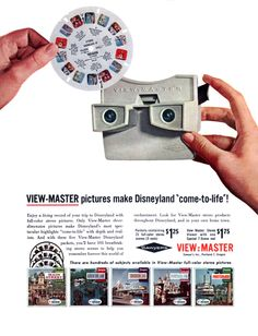 View-Master Disneyland pictures, from Vacationland magazine, Winter/Spring Vintage Toys 1960s, Retro Toys, Vintage Ads, Vintage Vibes, Vintage Disney Posters, Vintage Disneyland, Old Advertisements, Retro Advertising, View Master